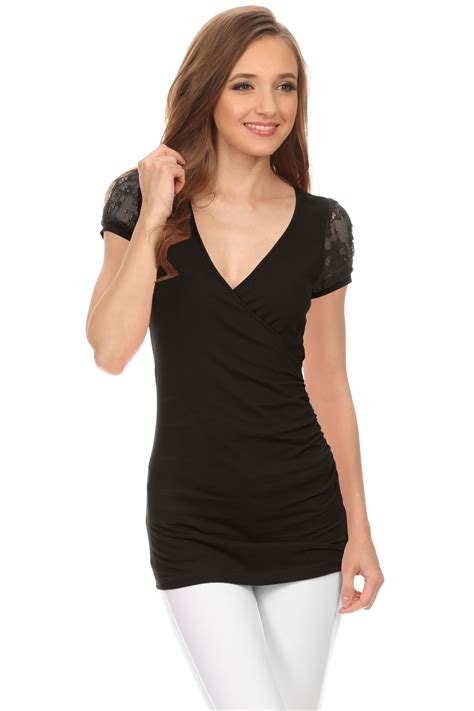 Cut Top womens surplice tops cleavage top low cut t shirt v neck blouse wrap shirt