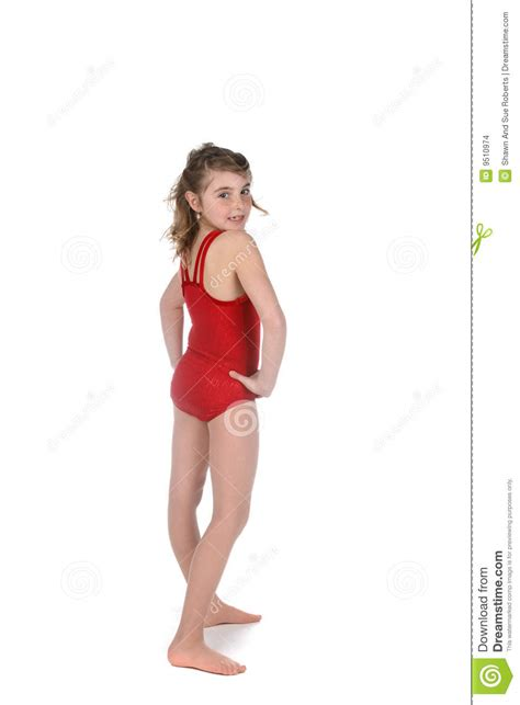 young girls in leotards young girl posing in red gymnastics leotard stock images