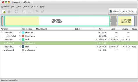 kumpulan tutorial kali linux step by step cara shrink resize hardisk di linux gparted