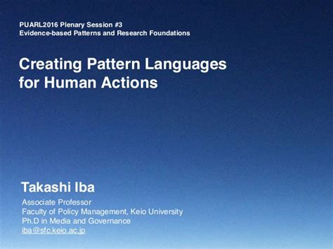 pattern language conference quot creating pattern languages for human actions quot puarl2016