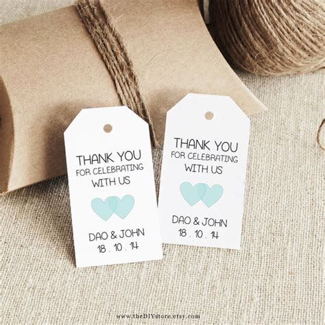 favor tag template printable small double heart design