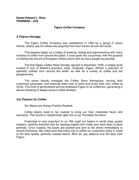 Letter For School Tuckshop Figaro Coffee Company