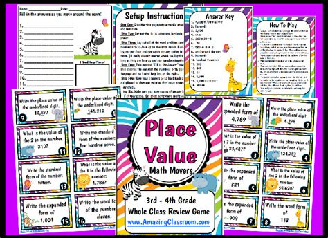 printable math games on place value place value math movers game printable worksheet with