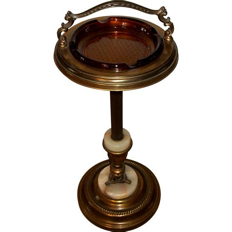 Pedestal Ashtray pedestal ashtray stand brass and marble accents from rubylane sold on ruby