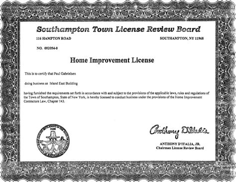 home improvement license island east building