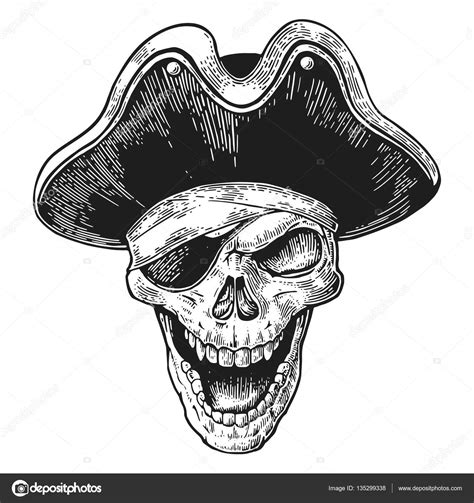 skull in pirate clothes eye patch and hat smiling black