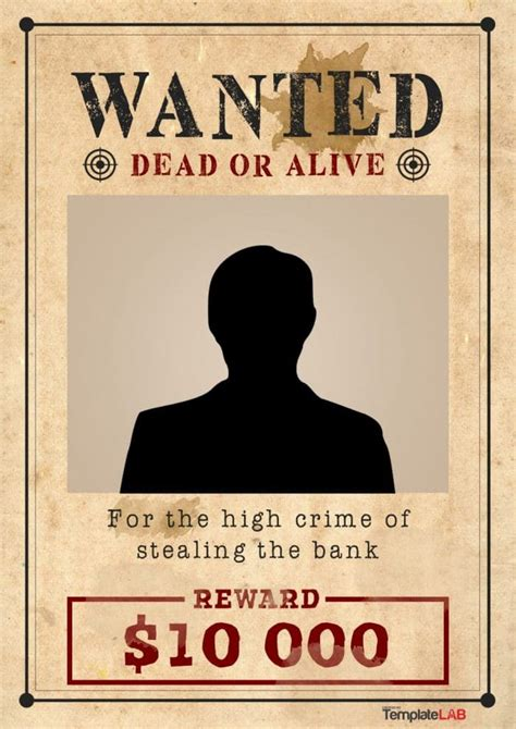 29 Free Wanted Poster Templates Fbi And Old West Western Wanted Poster Template