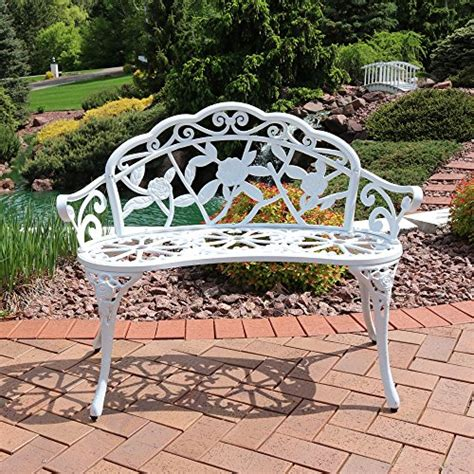garden bench white sunnydaze 2 person classic rose cast aluminum white garden