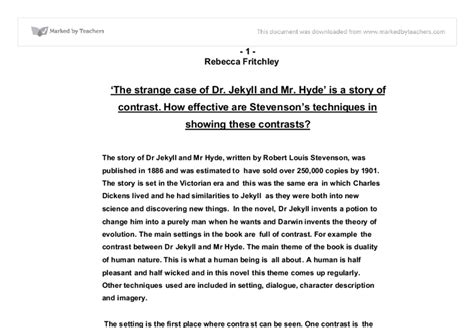 Jekyll And Hyde Essay by Jekyll And Hyde Essay Gcse Marked By Teachers