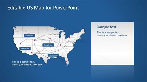 usa powerpoint map with routes slidemodel