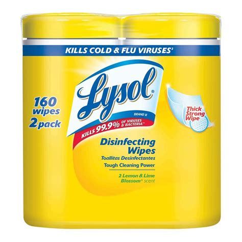 lysol 4 in 1 disinfecting wipes lemon lime blossom 2 pack
