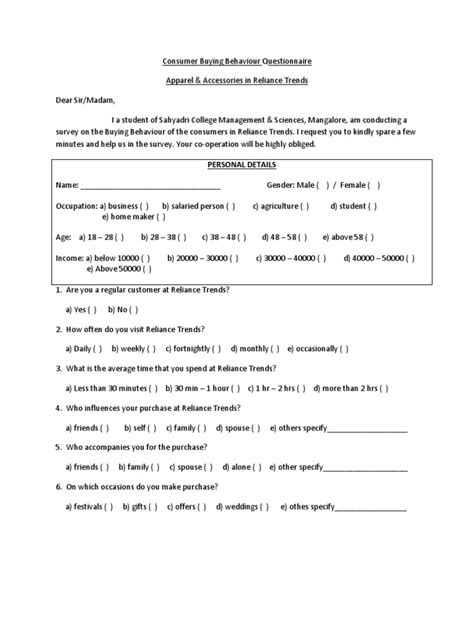 buying pattern questions consumer buying behaviour questionnaire clothing