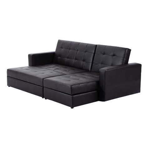 Homcom Storage Sleeper Couch Sofa Bed Wayfair Uk Sofa Sleeper With Storage