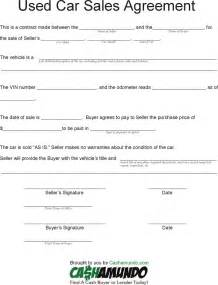 Agreement Of Sale Template For A Vehicle free used car sales agreement pdf 1 page s