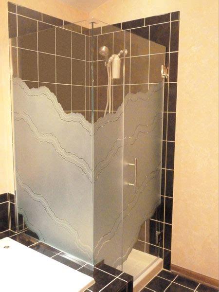 Sandblasted Shower Doors Corner Enclosure Etched Sandblasted Shower Doors Creative Mirror Shower