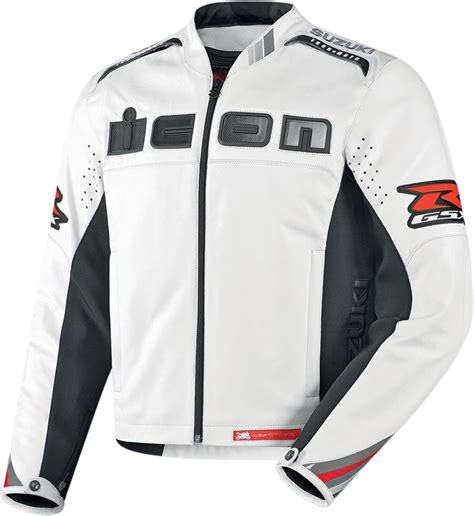gsxr riding jacket icon accelerant gsx r leather jacket white