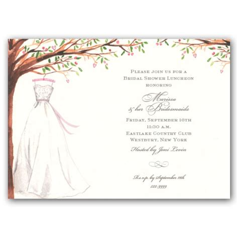 bridal shower invite template foliage wedding gown bridal shower invitations clearance paperstyle