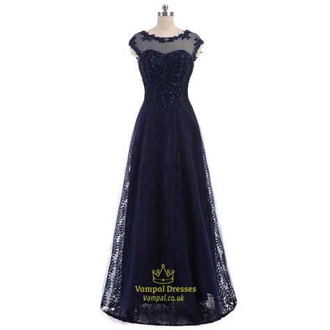 navy beaded dress navy beaded lace cap sleeve open back floor length