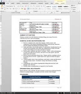 Accounts Receivable Description Sle by Accounts Receivable Clerk Description Bizmanualz