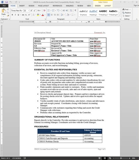 iso description template accounts receivable clerk description bizmanualz