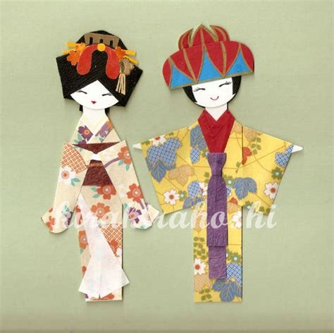 Paper Doll Origami - origami japanese geisha and okinawan in kimono paper