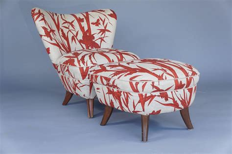 red and white ottoman modern red and white boudoir chair with ottoman for sale
