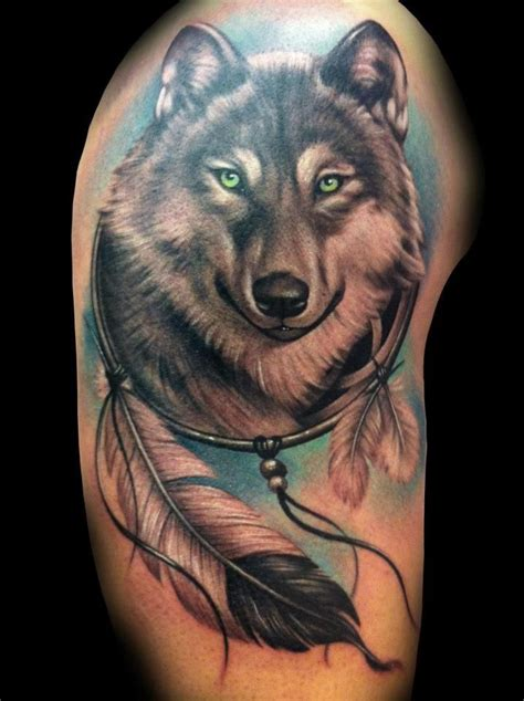 wolf and dreamcatcher tattoo designs wolf dreamcatcher tattoos