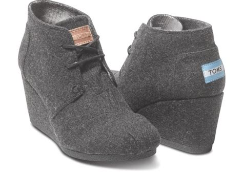 most comfortable heals toms grey wool women s desert wedges me pinterest