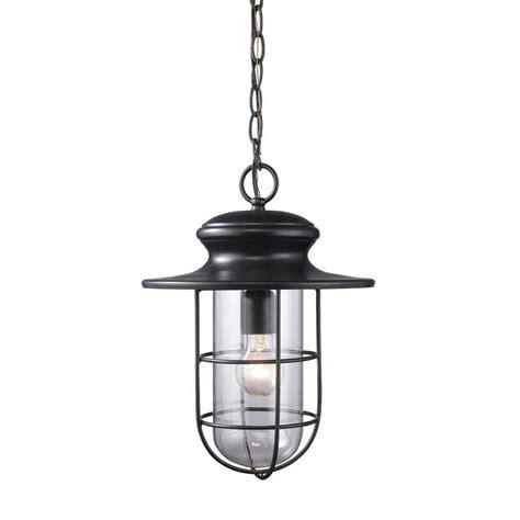 Titan Lighting Portside 1 Light Matte Black Outdoor Outdoor Light Pendant Hanging