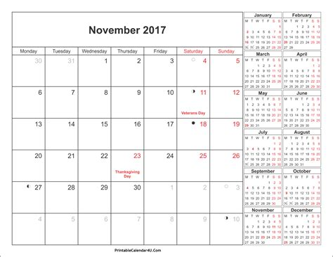 Calendar November 2017 With Holidays November 2017 Calendar Printable With Holidays Pdf And Jpg