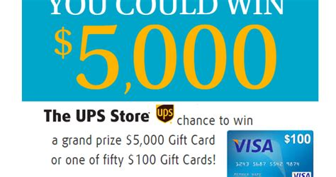 Visa Gift Card Printable Coupon - coupons and freebies 100 visa gift card giveaway from ups store grand prize 5 000