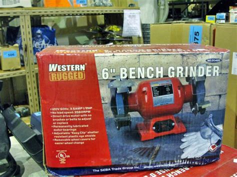 western rugged western rugged 6 quot bench grinder