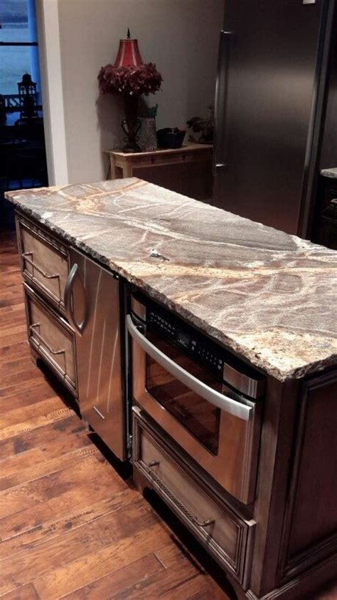 Kitchen Island With Microwave Drawer Our Kitchen Island Silver Granite With Chiseled Edge Sharp Microwave Drawer This