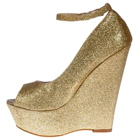 onlineshoe gold glitter wedge peep toe platform shoes