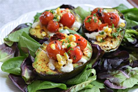 avocado boats grilled avocado boats with blistered tomatoes thefitfork