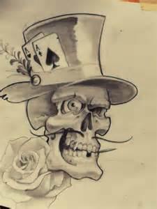 eljose art calavera p 243 ker boceto tatuaje gambler skull