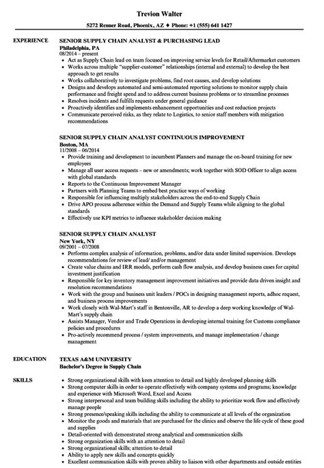 Supply Chain Analyst Resume by Senior Supply Chain Analyst Resume Sles Velvet