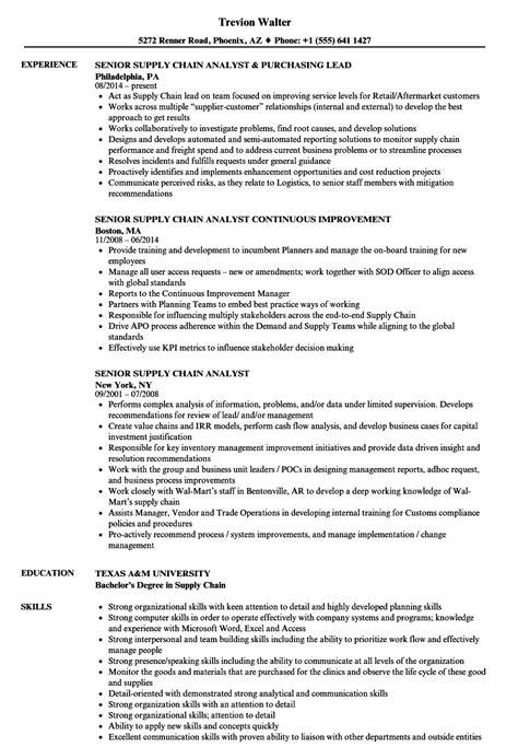 Caign Analyst Resume by Senior Supply Chain Analyst Resume Sles Velvet