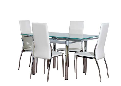 Dining Table And Chairs Glass Glass Dining Table Furniture And 4 Chairs Set Ebay