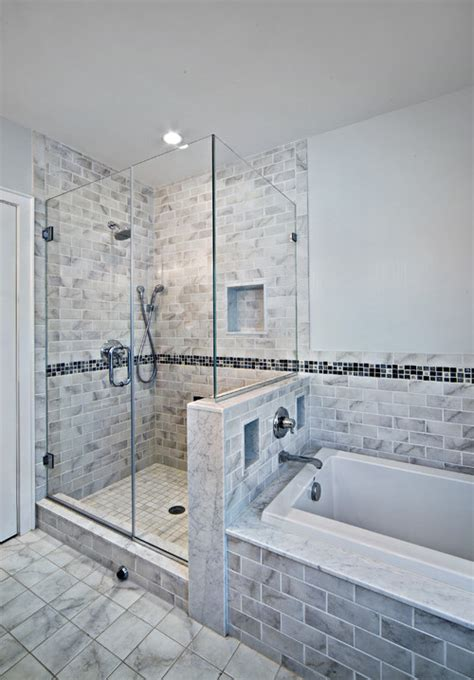 Shower With Half Wall And Glass Door Height Of The Half Wall