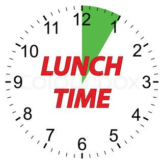 what time is lunch lunch time clock on a white background vector