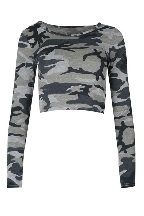Army Top new womens army grey printed halter neck crop top boobtube