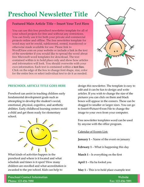 preschool monthly newsletter template 17 best images about sle newsletters on