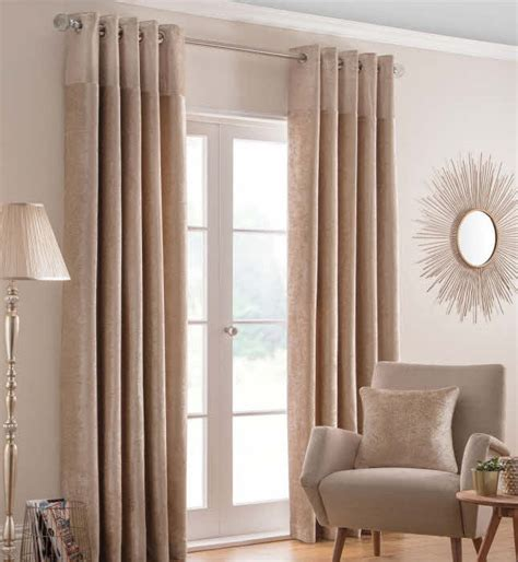 at home curtains nova chagne fully lined luxury ring top curtains