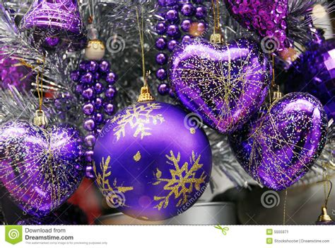 christmas decoration blue and silver baubles stock image