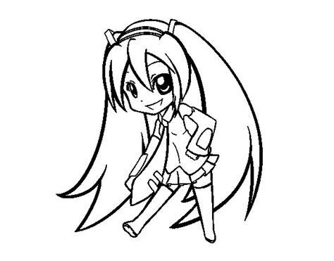 Imagenes De Hatsune Miku Kawaii Para Colorear   dibujo de hatsune vocaloid para colorear dibujos net