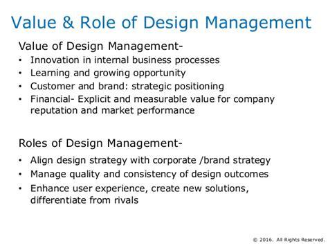 design management roles and responsibilities basics of product and process design management
