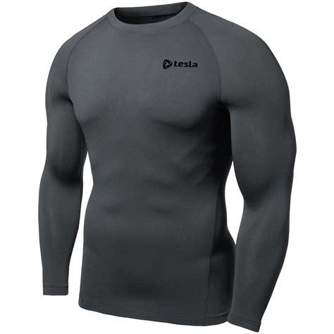 Fleece Lined Sleeve T Shirt tesla thermal winter baselayer fleece lined sleeve