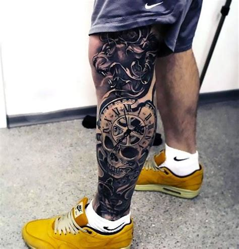 clock on leg tattoo idea