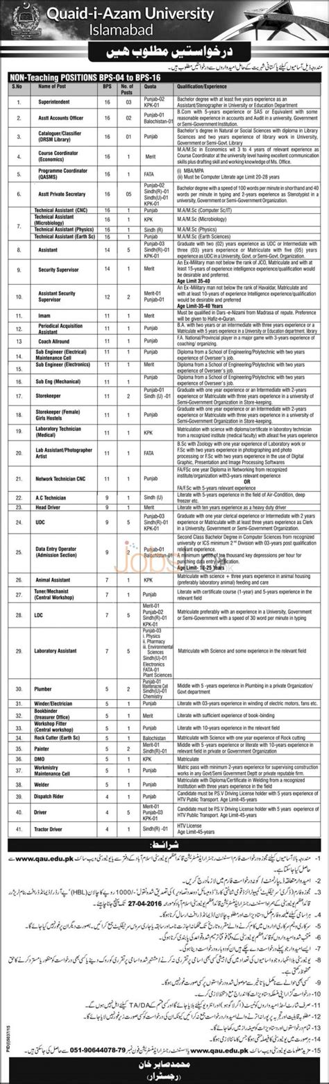 Mba Admission In Quaid E Azam by Quaid E Azam Islamabad 2016 Application Form